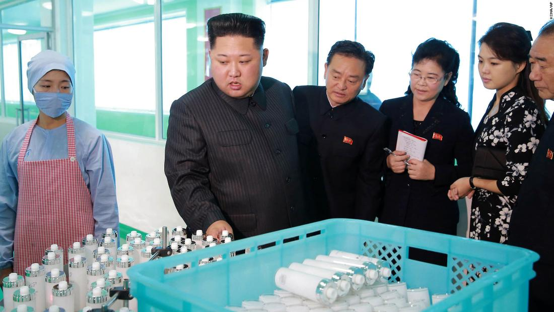 "In this undated photo released Sunday, October 29, by the North Korean government, North Korean leader Kim Jong Un, second from left, inspects products <a href=""http://www.cnn.com/2017/10/30/asia/north-korea-bombers-cosmetics/index.html"" target=""_blank"">while visiting a cosmetics factory</a> in Pyongyang, North Korea. He was accompanied by his wife, Ri Sol Ju, second from right. She rarely appears in public and was recently reported to have given birth to the couple's third child."