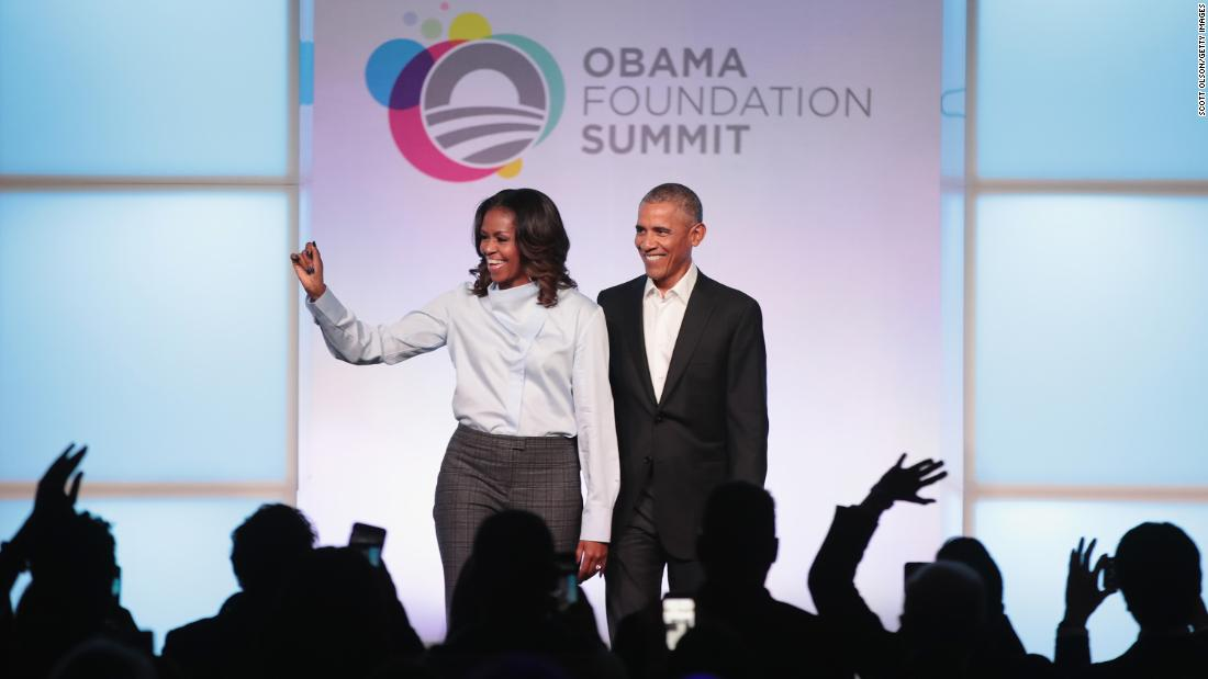 "Former US President Barack Obama and his wife, Michelle, are introduced at the inaugural Obama Foundation Summit on Tuesday, October 31. The two-day event <a href=""http://www.cnn.com/2017/09/13/politics/obama-chicago-foundation/index.html"" target=""_blank"">welcomed civic leaders from around the world</a> and was designed to empower young people to create change."