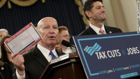 WASHINGTON, DC - NOVEMBER 02:  House Way and Means Chairman Kevin Brady (L) (R-TX) and Speaker of the House Paul Ryan (R) (R-WI), joined by members of the House Republican leadership, introduce tax reform legislation November 2, 2017 in Washington, DC.  The tax reform legislation is a centerpiece of U.S. President Donald Trump's legislative agenda.  (Photo by Win McNamee/Getty Images)