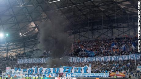 Marseille fans congregating at the club's home ground.