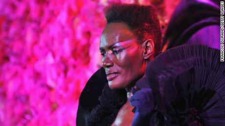 PARIS - MARCH 04: Grace Jones performs during the Victor & Rolf 'Flower Bomb' 5th Anniversary during Paris Fashion Week at Hotel Meurice on March 4, 2010 in Paris, France. (Photo by Francois Durand/Getty Images)
