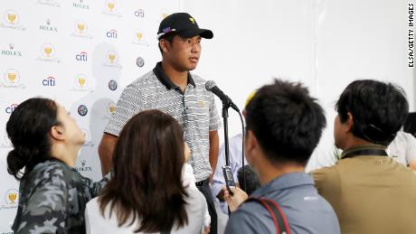 Hideki Matsuyama talks to the media at the Presidents Cup in September.