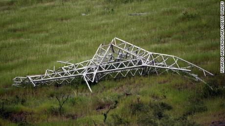 Hurricame Maria smashed Puerto Rico's transmission network, including this power tower near Guayama.