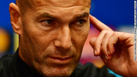 LONDON, ENGLAND - OCTOBER 31: Zinedine Zidane, manager of Real Madrid speaks during a press conference ahead of their UEFA Champions League Group H match against Tottenham Hotspur at Wembley Stadium on October 31, 2017 in London, England. (Photo by Alex Broadway/Getty Images)