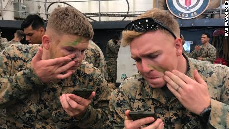 Marines prepare for the commencement of the Blue Chromite 18 drills.