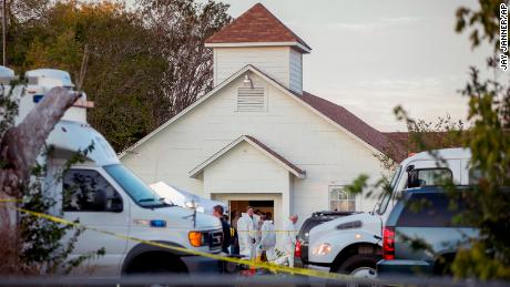 Investigators work at the scene of a mass shooting at the First Baptist Church in Sutherland Springs, Texas, on Sunday Nov. 5, 2017. A man opened fire inside of the church in the small South Texas community on Sunday, killing more than 20 people.(Jay Janner/Austin American-Statesman via AP)/Austin American-Statesman via AP)