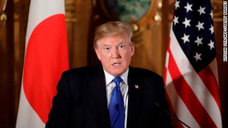 "US President Donald Trump speaks during a joint press conference with Japanese Prime Minister Shinzo Abe (not pictured) at Akasaka Palace in Tokyo on November 6, 2017. President Donald Trump lashed out at the US trade relationship with Japan, saying it was ""not fair and open"", as he prepared for formal talks with his Japanese counterpart. / AFP PHOTO / POOL / Kiyoshi Ota        (Photo credit should read KIYOSHI OTA/AFP/Getty Images)"