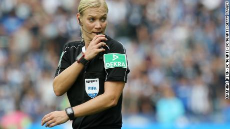 Referee Bibiana Steinhaus looks on during the Bundesliga match between Hertha BSC and SV Werder Bremen at Olympiastadion on September 10, 2017 in Berlin, Germany.