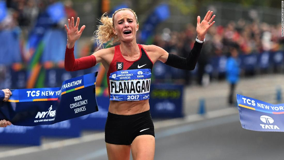 "Shalane Flanagan crosses the finish line <a href=""http://www.cnn.com/2017/11/05/sport/shalane-flanagan-new-york-city-marathon-first-american-woman-40-years/index.html"" target=""_blank"">to win the New York City Marathon</a> on Sunday, November 5. It was the first time an American took the women's title since 1977."