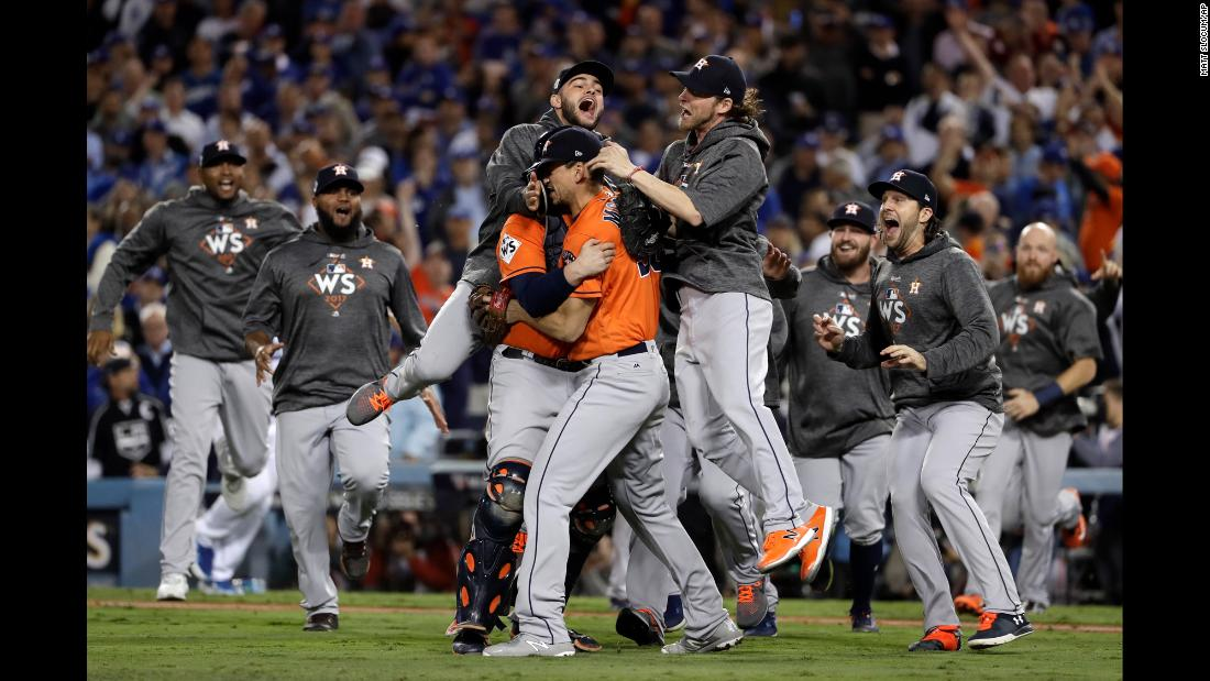 "The Houston Astros celebrate after defeating the Los Angeles Dodgers 5-1 in <a href=""http://www.cnn.com/2017/11/01/sport/gallery/world-series-game-7-astros-dodgers/index.html"" target=""_blank"">Game 7 of the World Series</a> on Wednesday, November 1. It is the first time the Astros have won the World Series."