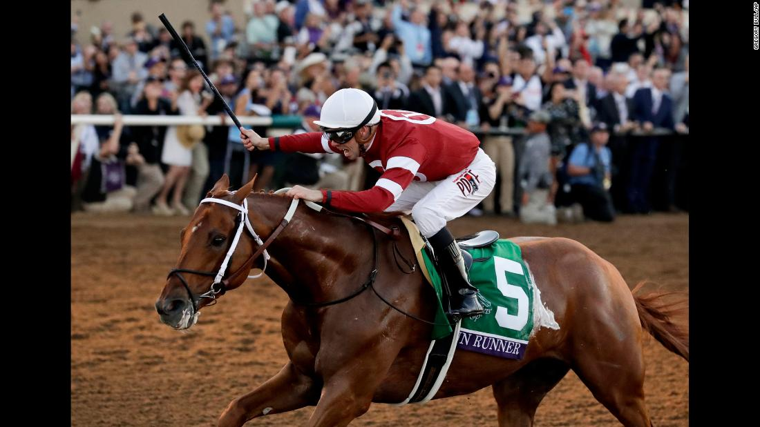 "Florent Geroux celebrates aboard Gun Runner after they won the Breeders' Cup Classic on Saturday, November 4. <a href=""http://www.cnn.com/2017/11/04/sport/breeders-cup/index.html"" target=""_blank"">Gun Runner dominated the race,</a> leading from wire to wire."