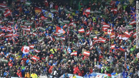 Fans at the FIS Alpine Ski World Cup in Schladming, Austria.