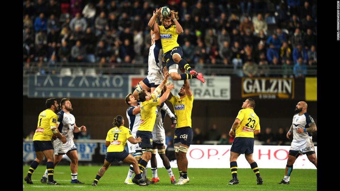Camille Gerondeau, a flanker for French rugby club Clermont, grabs the ball during a lineout against Montpellier on Sunday, November 5.