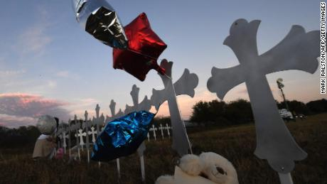Memorial crosses honoring victims were placed near the scene of the church massacre.