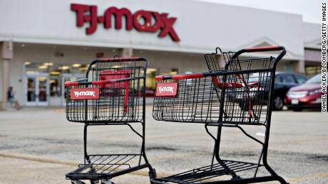 Shopping carts sit in the parking lot outside a TJ Maxx store in Peoria, Illinois, U.S., on Sunday, Aug. 14, 2016. The TJX Companies Inc., owner of brands including HomeGoods, Marshalls, and TJ Maxx, is scheduled to release earnings figures on Aug. 16. Photographer: Daniel Acker/Bloomberg via Getty Images