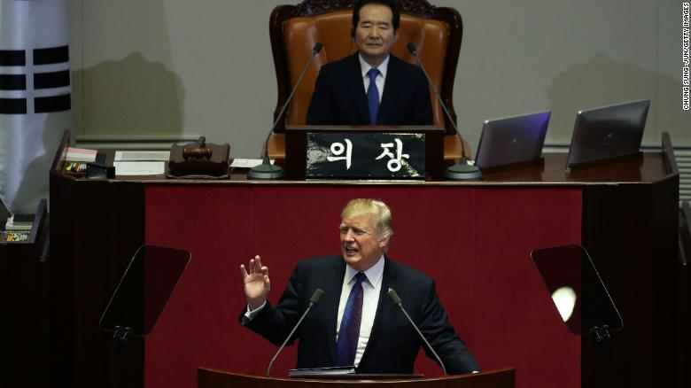 Trump shouts out South Korean golfers in national address