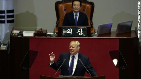 President Donald Trump speaks at the National Assembly on November 8, 2017 in Seoul, South Korea.