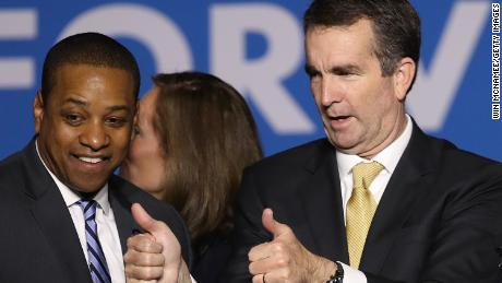 FAIRFAX VA- NOVEMBER 07 Gov.-elect Ralph Northam and Lt. Gov.-elect Justin Fairfax greet supporters at an election night rally