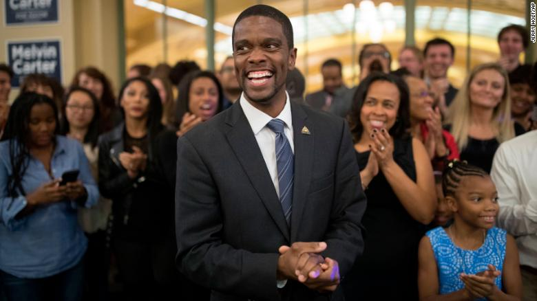 St. Paul mayoral candidate Melvin Carter III celebrates his win with family and friends on Tuesday in St. Paul, Minnesota.