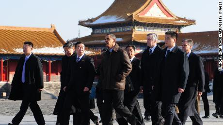 Then US President Barack Obama tours the Forbidden City in 2009.