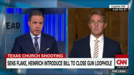 tl sen jeff flake live texas shooting gun legislation jake tapper_00000923