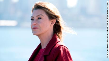"Ellen Pompeo as Dr. Meredith Grey in the 300th episode of ""Grey's Anatomy."""