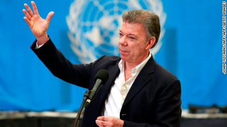 Colombian President Juan Manuel Santos speaks after the last session by UN observers to disable weapons surrendered by the Revolutionary Armed Forces of Colombia (FARC), in Funza, on the outskirts of Bogota, Colombia on September 22, 2017. / AFP PHOTO / John Vizcaino        (Photo credit should read JOHN VIZCAINO/AFP/Getty Images)