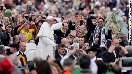 Pope Francis (Jorge Mario Bergoglio)'s Wednesday General Audience on Saint Peter's Square. Vatican City, 13th April 2016.