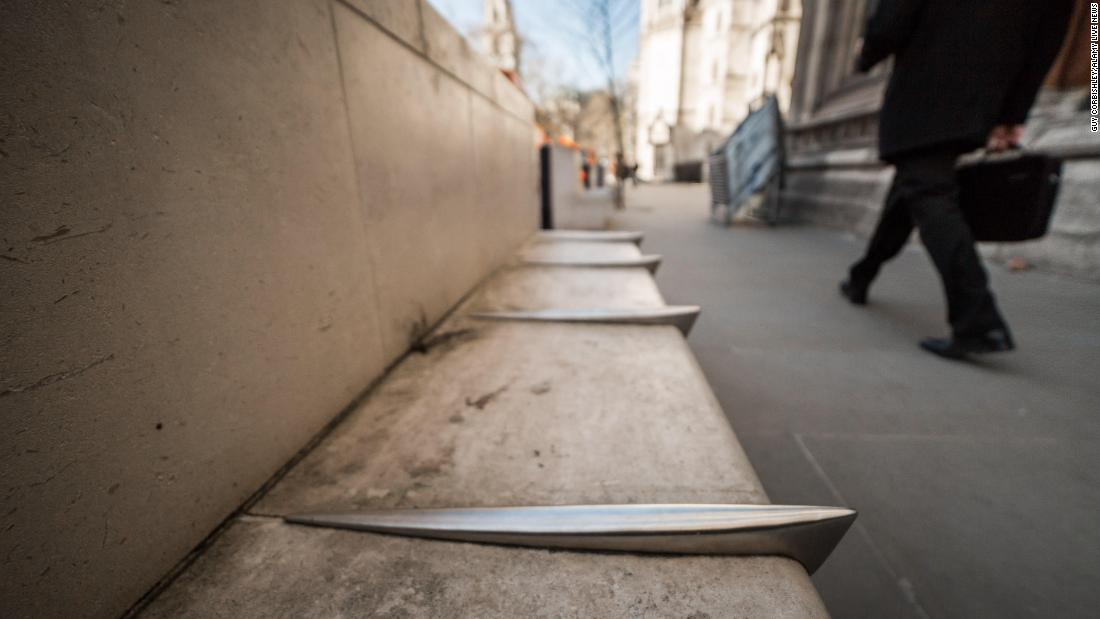 Metal spikes on the bench are designed to prevent skateboarders.