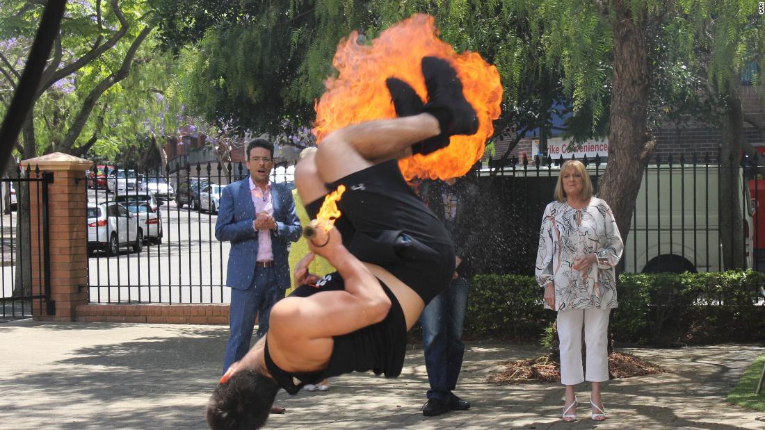 Fire-breathing backflipper sets record