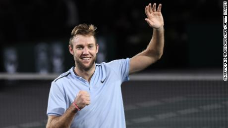 USA's Jack Sock celebrates winning against Serbia's Filip Krajinovic during the final of the ATP World Tour Masters 1000 indoor tennis tournament on November 5, 2017 in Paris. Sock won the match 5-7, 6-4 and 6-1. / AFP PHOTO / CHRISTOPHE SIMON        (Photo credit should read CHRISTOPHE SIMON/AFP/Getty Images)