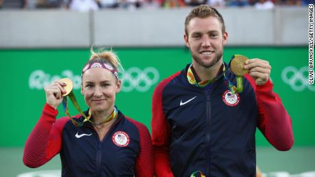 Jack Sock & Bethanie Mattek-Sands won gold for the U.S. in the mixed doubles at the 2016 Rio Olympics (Photo by Clive Brunskill/Getty Images)