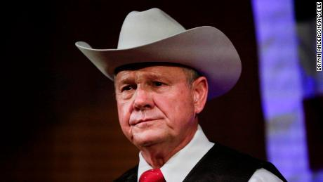 FILE - In this Monday, Sept. 25, 2017, file photo, former Alabama Chief Justice and U.S. Senate candidate Roy Moore speaks at a rally, in Fairhope, Ala. According to a Washington Post story Nov. 9, an Alabama woman said Moore made inappropriate advances and had sexual contact with her when she was 14. (AP Photo/Brynn Anderson, File)