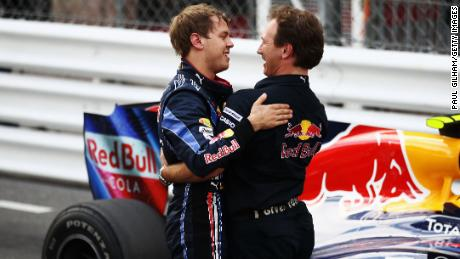Glory days - Horner and Sebastian Vettel embrace at 2010 Monaco Grand Prix (Photo by Paul Gilham/Getty Images)
