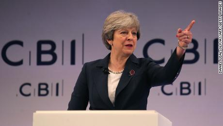 Britain's Prime Minister Theresa May addresses delegates at the annual Confederation of British Industry (CBI) conference in east London, on November 6, 2017. / AFP PHOTO / Daniel LEAL-OLIVAS        (Photo credit should read DANIEL LEAL-OLIVAS/AFP/Getty Images)