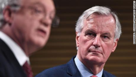 Britain's chief Brexit negotiator David Davis (L) and EU's chief Brexit negotiator Michel Barnier address the media after a sixth round of Brexit talks at the European Union Commission building in Brussels on November 10, 2017.  / AFP PHOTO / EMMANUEL DUNAND        (Photo credit should read EMMANUEL DUNAND/AFP/Getty Images)