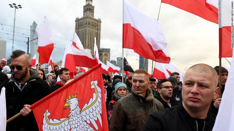 Police estimate that 60,000 people took part in the nationalist demonstration.