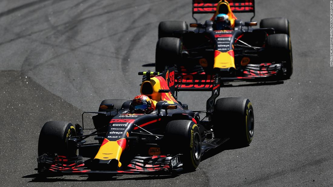 Max Verstappen leads his Red Bull Racing teammate Daniel Ricciardo. The Australian started the race from 14th after taking a 10-place grid penalty for a engine change.