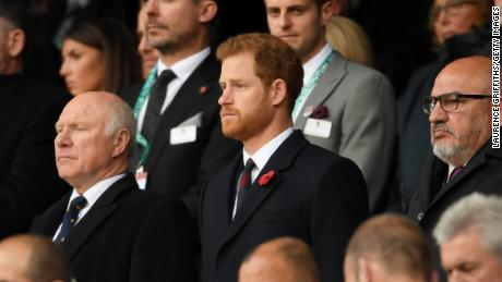 Prince Harry takes part in a minute of silence prior to kick off at Twickenham