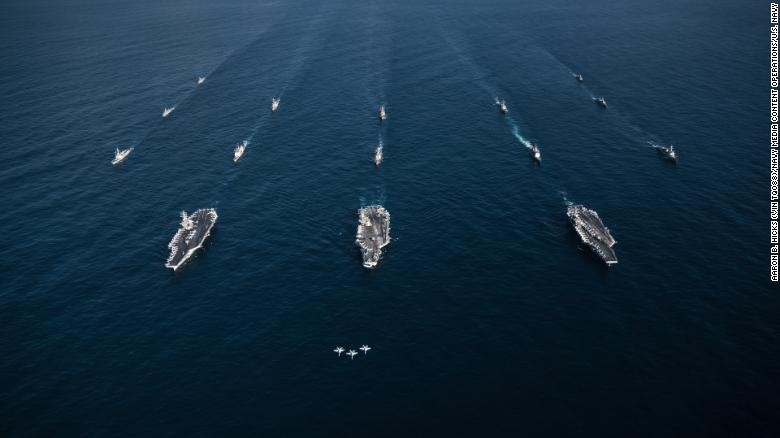 Three F/A-18E Super Hornets lead a flotilla of US and South Korea ships in exercises on Sunday.