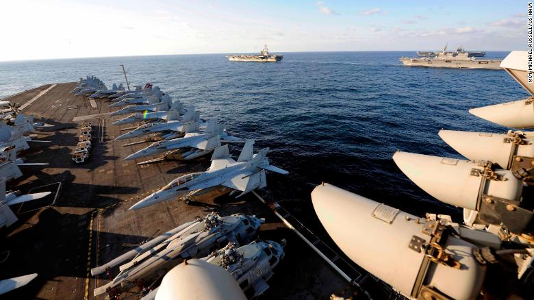 Three US carriers have not operated together in the Pacific in a decade.
