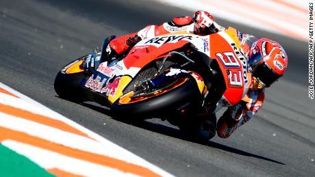 Marc Marquez on track at Sunday's MotoGP title-decider in Valencia.