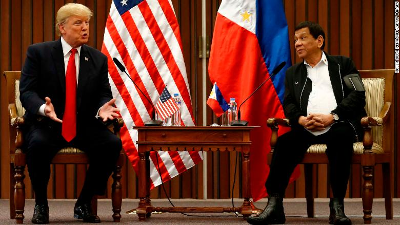 "Trump touts ""great relationship"" with Duterte"