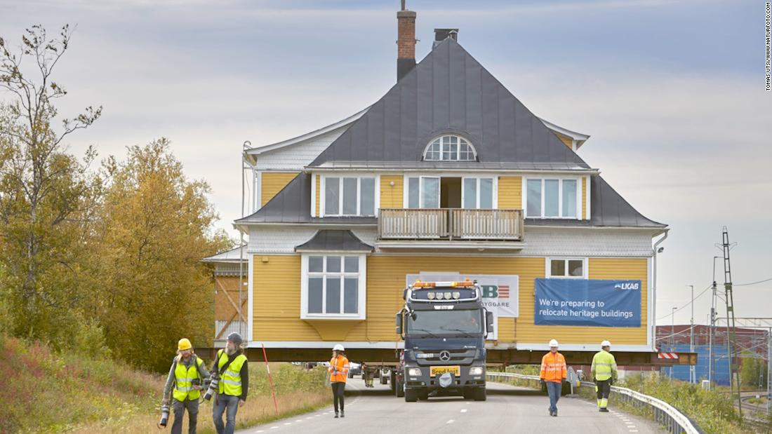 At risk of cracks from a nearby mine posing a danger to residents, the Swedish town of Kiruna is relocating some of its population, as well as heritage buildings. The Ingengörsvillan, pictured, was moved intact in August 2017. The highway as closed as it made its voyage.