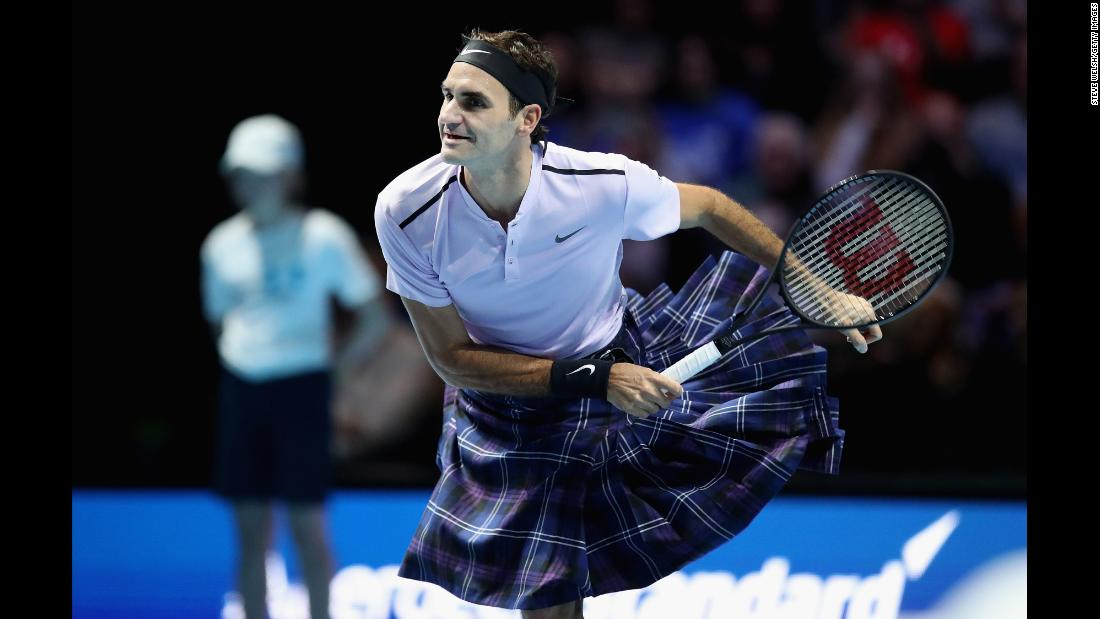 Roger Federer wears a kilt during an exhibition match in Glasgow, Scotland, on Tuesday, November 7. Federer was playing hometown favorite Andy Murray.