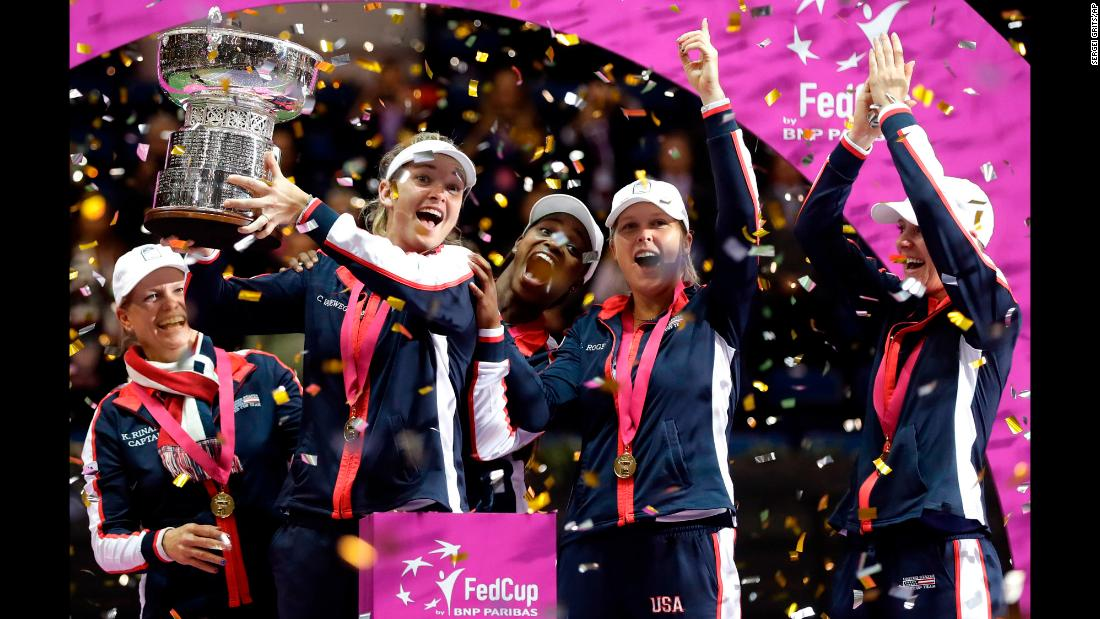 "CoCo Vandeweghe holds the Fed Cup after the American team defeated Belarus in the final on Sunday, November 12. It is <a href=""http://edition.cnn.com/2017/11/13/tennis/fed-cup-usa-coco-vandeweghe/index.html"" target=""_blank"">the first time in 17 years</a> that the United States won the Fed Cup, the top team competition in women's tennis."