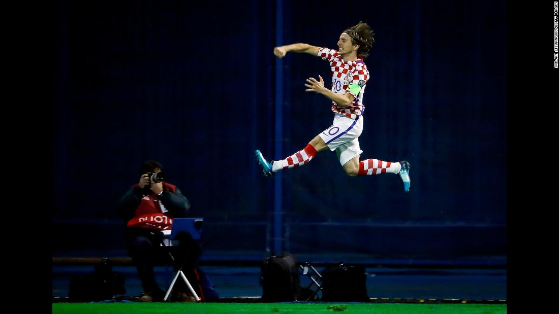 Croatian midfielder Luka Modric celebrates a goal during a World Cup playoff match against Greece on Thursday, November 9. The Croatians advanced to the World Cup with a 4-1 aggregate win.