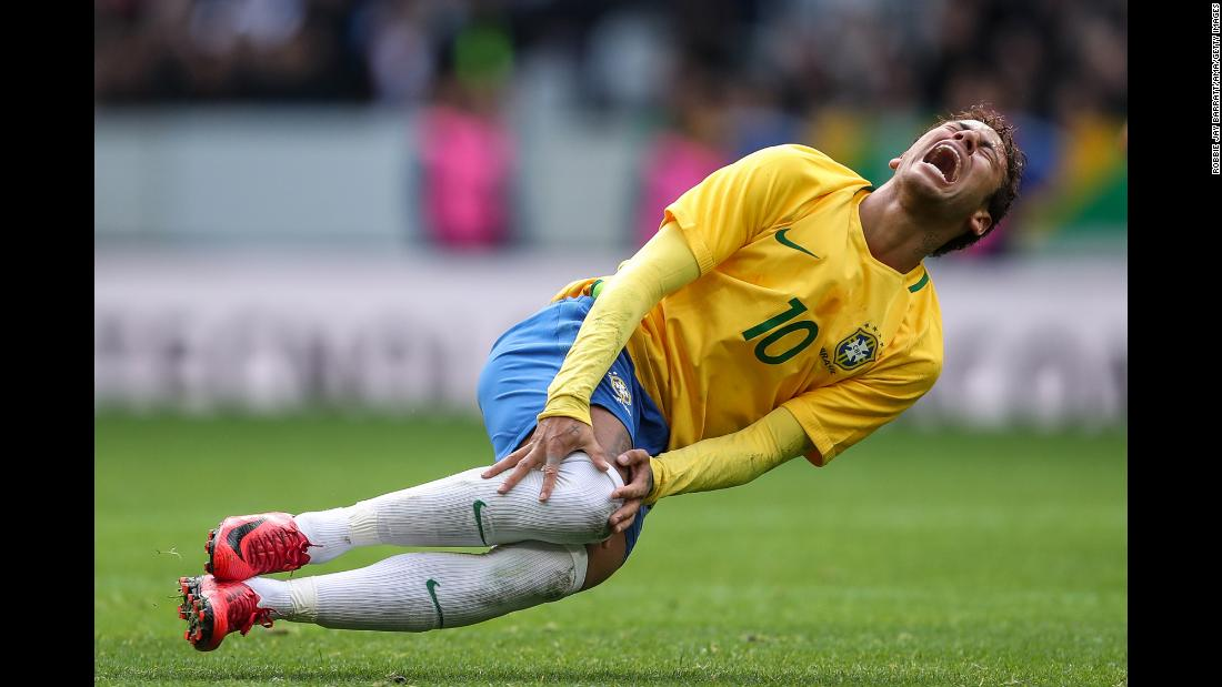 Brazilian soccer star Neymar reacts during a friendly match against Japan on Friday, November 10. He scored a goal in Brazil's 3-1 victory.
