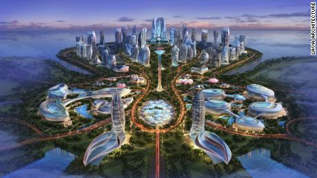 Chris Bosse's design for the central area of Ocean Flower Island in western Hainan.