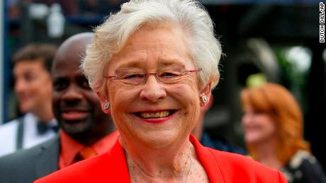 Alabama Gov. Kay Ivey watches from the sideline during the first half of an NCAA college football game between Auburn and Mercer, Saturday, Sept. 16, 2017, in Auburn, Ala. (AP Photo/Butch Dill)